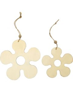 Ornamentos de madera, flores, dia: 12,3+16,5 cm, grosor 5 mm, 2 ud/ 1 paquete