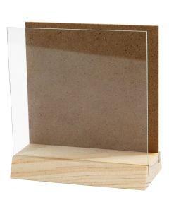 Placa 3D con cristal, medidas 10x10 cm, 1 set