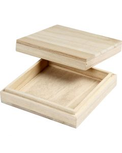 Caja de madera, A: 3 cm, medidas 10x10 cm, 1 ud