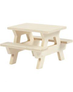 Mesa de picnic con banco, A: 5,5 cm, L. 8 cm, 1 ud