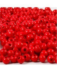Cuentas de madera , dia: 5 mm, medida agujero 1,5 mm, rojo, 6 gr/ 1 paquete, 150 ud