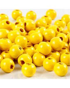 Cuentas de madera , dia: 8 mm, medida agujero 2 mm, amarillo, 15 gr/ 1 paquete, 80 ud
