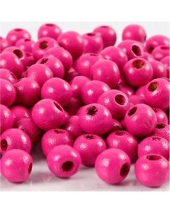 Cuentas de madera , dia: 8 mm, medida agujero 2 mm, rosa, 15 gr/ 1 paquete, 80 ud