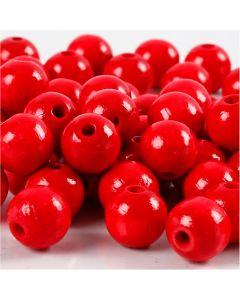Cuentas de madera , dia: 10 mm, medida agujero 3 mm, rojo, 20 gr/ 1 paquete, 70 ud