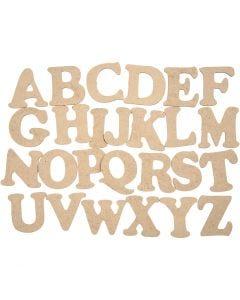 Letras de madera, A-Z, A: 4 cm, grosor 2,5 mm, 26 ud/ 1 paquete