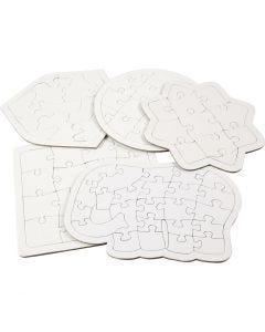 Puzzle, medidas 17-21 cm, blanco, 10 ud/ 1 paquete