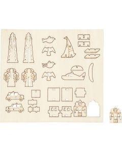 Figuras de madera, Objetos uso cotidiano, L. 15,5 cm, A: 17 cm, 1 paquete