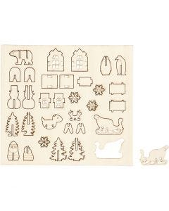 Figuras de madera, Navidad, L. 15,5 cm, A: 17 cm, 1 paquete