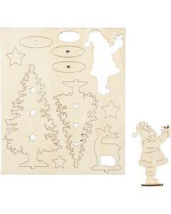 Figuras de madera, Papá Noël, árboles de Navidad, reno, L. 20 cm, A: 17 cm, 1 paquete
