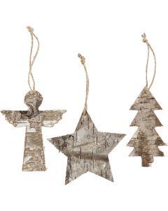 Adornos de Navidad, A: 10 cm, A: 8 cm, 3 ud/ 1 paquete