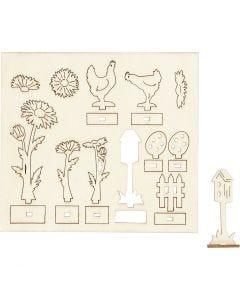 Figuras de madera, L. 15,5 cm, A: 17 cm, 1 paquete