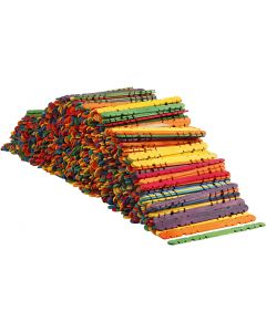 Palos con agujeros, L. 11,4 cm, A: 10 mm, surtido de colores, 1000 ud/ 1 paquete
