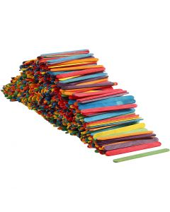 Palos de madera, L. 11,4 cm, A: 10 mm, surtido de colores, 1000 ud/ 1 paquete