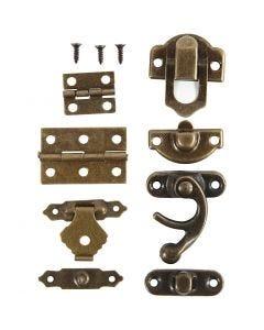 Mini accesorios, medidas 16x19-21,5x31 mm, oro antiguo, 15 set/ 1 paquete