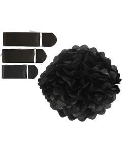 Pompones de seda, dia: 20+24+30 cm, 16 gr, negro, 3 ud/ 1 paquete