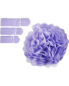 Pompones de seda, dia: 20+24+30 cm, 16 gr, morado, 3 ud/ 1 paquete
