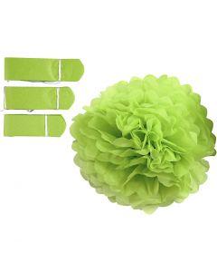 Pompones de seda, dia: 20+24+30 cm, 16 gr, verde lima, 3 ud/ 1 paquete