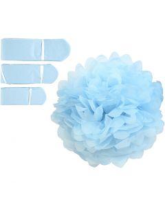 Pompones de seda, dia: 20+24+30 cm, 16 gr, azul claro, 3 ud/ 1 paquete