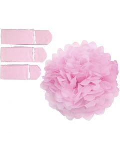 Pompones de seda, dia: 20+24+30 cm, 16 gr, rojo claro, 3 ud/ 1 paquete