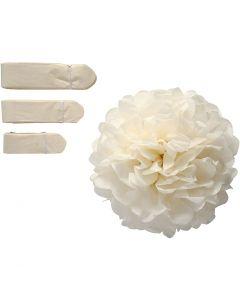 Pompones de seda, dia: 20+24+30 cm, 16 gr, blanquecino, 3 ud/ 1 paquete