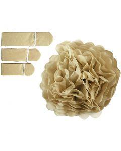 Pompones de seda, dia: 20+24+30 cm, 16 gr, dorado, 3 ud/ 1 paquete