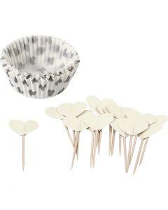 Envoltura para cupcakes y toppers, A: 3 cm, dia: 5 cm, 40 gr, blanquecino, 24 set/ 1 paquete