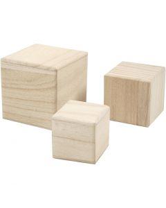 Cubos de madera, medidas 5+6+8 cm, 3 ud/ 1 paquete