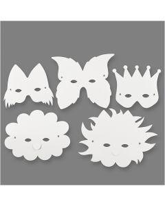 Máscaras, A: 15-20 cm, 230 gr, blanco, 5 ud/ 1 paquete