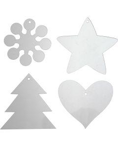 Ornamentos acrílicos, A: 7-8,5 cm, grosor 2 mm, 40 ud/ 1 paquete