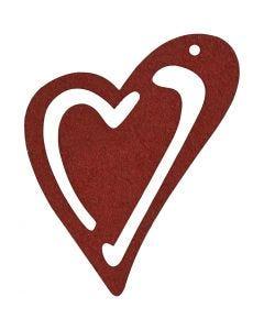 Corazón , medidas 55x45 mm, burdeos, 10 ud/ 1 paquete