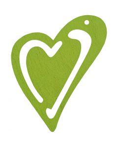 Corazón , medidas 55x45 mm, verde lima, 10 ud/ 1 paquete