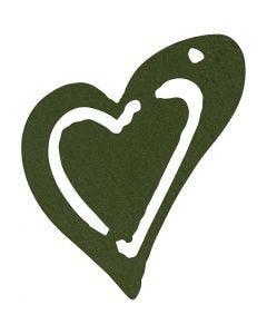 Corazón, medidas 25x22 mm, verde oscuro, 20 ud/ 1 paquete