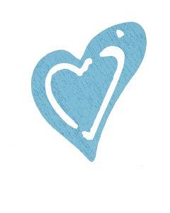 Corazón, medidas 25x22 mm, azul turquesa light, 20 ud/ 1 paquete