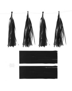 Borla de papel, medidas 12x35 cm, 14 gr, negro, 12 ud/ 1 paquete