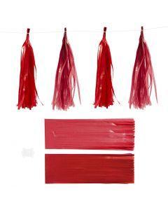 Borla de papel, medidas 12x35 cm, 14 gr, burdeos/rojo, 12 ud/ 1 paquete