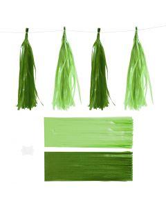 Borla de papel, medidas 12x35 cm, 14 gr, verde oscuro/lima, 12 ud/ 1 paquete
