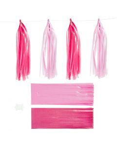 Borla de papel, medidas 12x35 cm, rosa, rojo claro, 12 ud/ 1 paquete