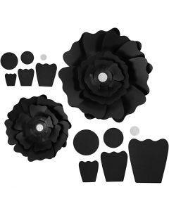 Flores de papel, dia: 15+25 cm, 230 gr, negro, 2 ud/ 1 paquete