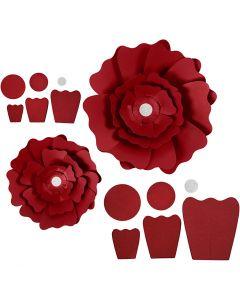 Flores de papel, dia: 15+25 cm, 230 gr, rojo, 2 ud/ 1 paquete