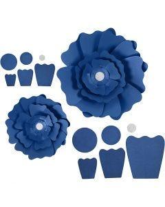 Flores de papel, dia: 15+25 cm, 230 gr, azul, 2 ud/ 1 paquete