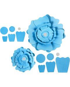 Flores de papel, dia: 15+25 cm, 230 gr, azul claro, 2 ud/ 1 paquete