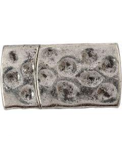 cierre magnético, medidas 7x29 mm, medida agujero 3x10 mm, plata antigua, 1 ud