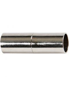 Cierre magnético, L. 23 mm, medida agujero 6 mm, plateado, 2 ud/ 1 paquete