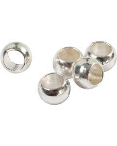 Abalorios ondulados, dia: 2,5 mm, plateado, 100 ud/ 1 paquete