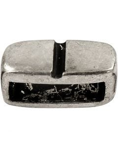 Pieza espaciadora, medidas 6x14 mm, medida agujero 10x3 mm, plata antigua, 5 ud/ 1 paquete