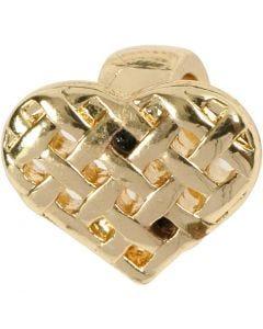 Corazón, medidas 13x11 mm, dorado/plateado, 1 ud
