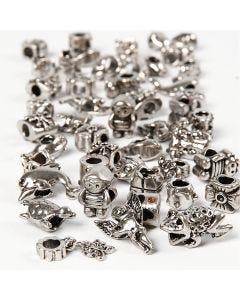 Motivos Fashion, dia: 7-18 mm, medida agujero 4 mm, El contenido puede variar , plata antigua, 100 gr/ 1 paquete