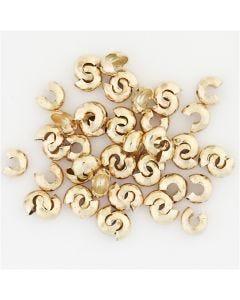 Funda para cuentas de engarzado, dia: 5 mm, dorado/plateado, 500 ud/ 1 paquete