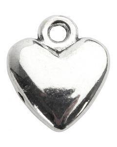 Colgante corazón, medidas 13x15 mm, plateado, 10 ud/ 1 paquete
