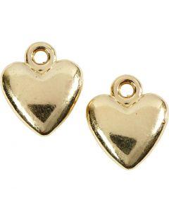 Colgante corazón, medidas 13x15 mm, dorado/plateado, 10 ud/ 1 paquete